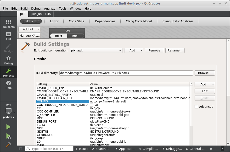 How to build Firmware for px4fmu-v2_default using Qt Creator in